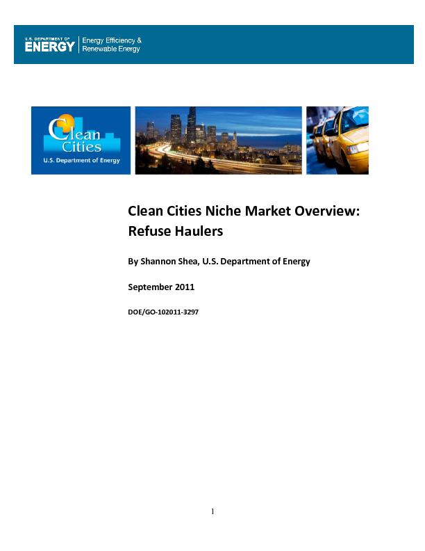 Clean Cities Niche Market Overview: Refuse HaulersBy Shannon Shea, U.S