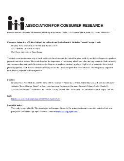 Latin American Advances in Consumer Research Volume    Consumer Animosity A WithinNation Study of Arab and Jewish Israelis Attitudes toward Foreign Goods Mei Rose University of Puget Sound USA Aviv
