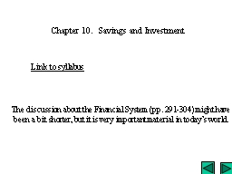 Chapter 10.  Savings and Investment