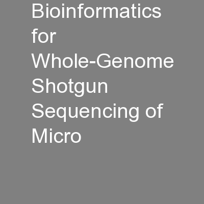 Bioinformatics for Whole-Genome Shotgun Sequencing of Micro
