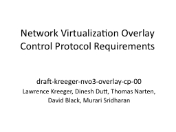 Network Virtualization Overlay Control Protocol Requirement