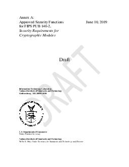 Annex A Approved Security Functions for FIPS PUB   Security Requirements for Cryptographic Modules October    Draft Randall J