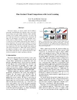 FineGrained Visual Comparisons with Local Learning Aron Yu and Kristen Grauman U PDF document - DocSlides