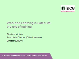 Work and Learning in Later Life: