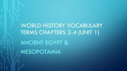 WORLD HISTORY VOCABULARY TERMS Chapters 2-4 (UNIT 1)