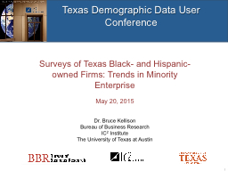 Texas Demographic Data User Conference