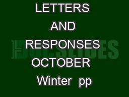 LETTERS AND RESPONSES OCTOBER  Winter  pp PowerPoint PPT Presentation