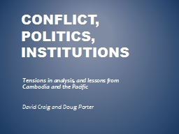 Conflict, Politics, institutions PowerPoint PPT Presentation