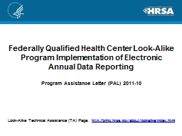 Federally Qualified Health Center Look-Alike Program Implem