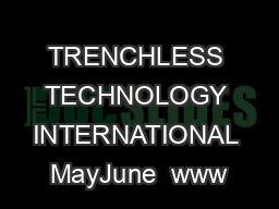TRENCHLESS TECHNOLOGY INTERNATIONAL MayJune  www