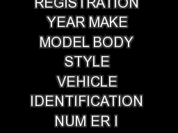AFFIDAVIT FOR ANTIQUE MOTOR VEHICLE LICENSE PLATE REGISTRATION YEAR MAKE MODEL BODY STYLE VEHICLE IDENTIFICATION NUM ER I hereby request registr ation Printed Name of Owner of the motor vehicle descr
