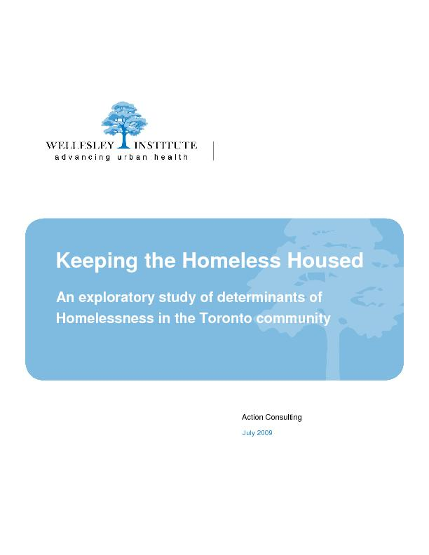 Homelessness in the Toronto community Action Consulting July 2009  ...