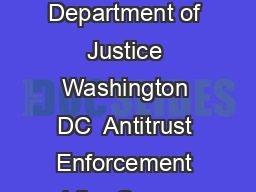 US Department of Justice Washington DC  Antitrust Enforcement and the Consumer