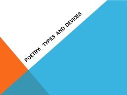 Poetry:  Types and Devices