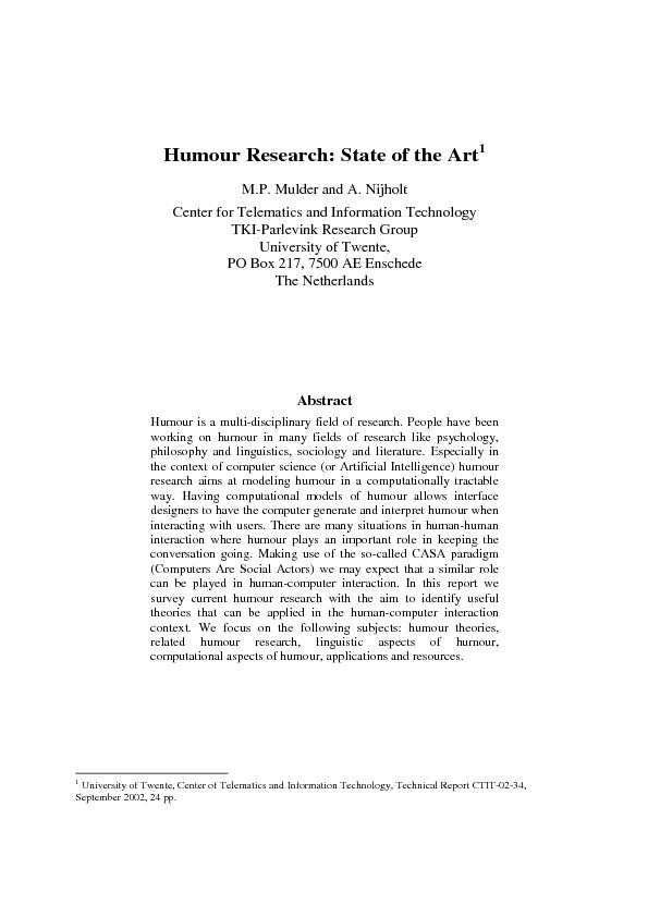 Humour Research: State of the ArtM.P. Mulder and A. Nijholt Center for