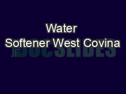 Water Softener West Covina