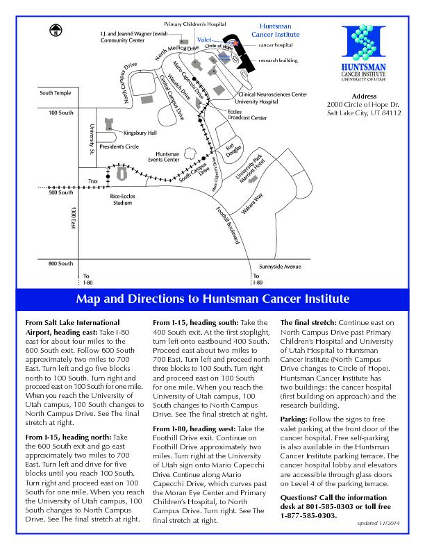 Map and Directions to Huntsman Cancer InstituteFrom Salt Lake Internat