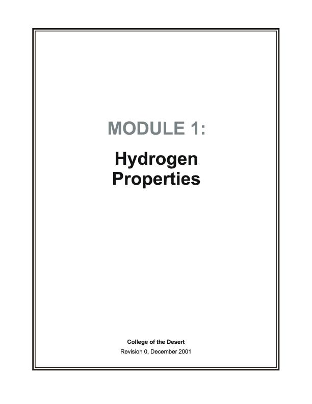 Hydrogen Fuel Cell Engines   MODULE 1: HYDROGEN PROPERTIES