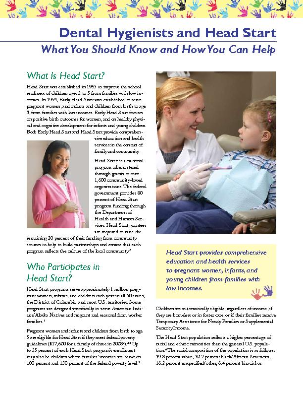 Dental Hygienists and Head StartWhat You Should Know and How You Can H