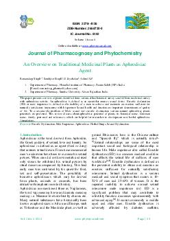 ISSN   ZDBNumber  IC Journal No  Journal of Pharmacognosy and Phytochemistry An Overview on Traditional Medicinal Plants as Aphrodisiac Agent Ramandeep Singh    Sarabjeet Singh  G