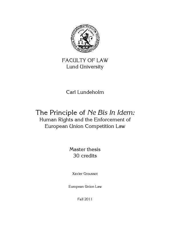 FACULTYLund   Carl Lundeholm  The Principle of Ne Bis In Idem Human Ri