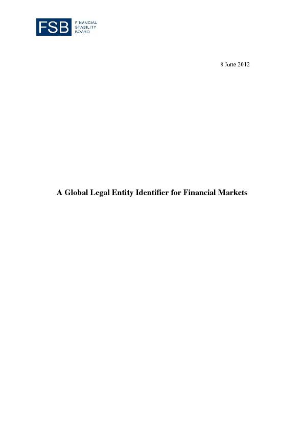 A Global Legal Entity Identifier for Financial Markets