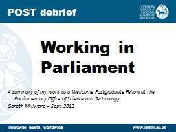 Working in Parliament