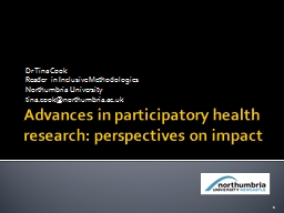 Advances in participatory health research: perspectives on