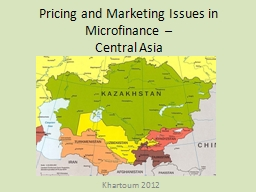 Pricing and Marketing Issues in Microfinance –