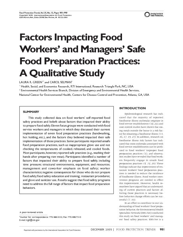 Food Protection Trends,Vol. 25, No. 12, Pages 981…990 Copyright20