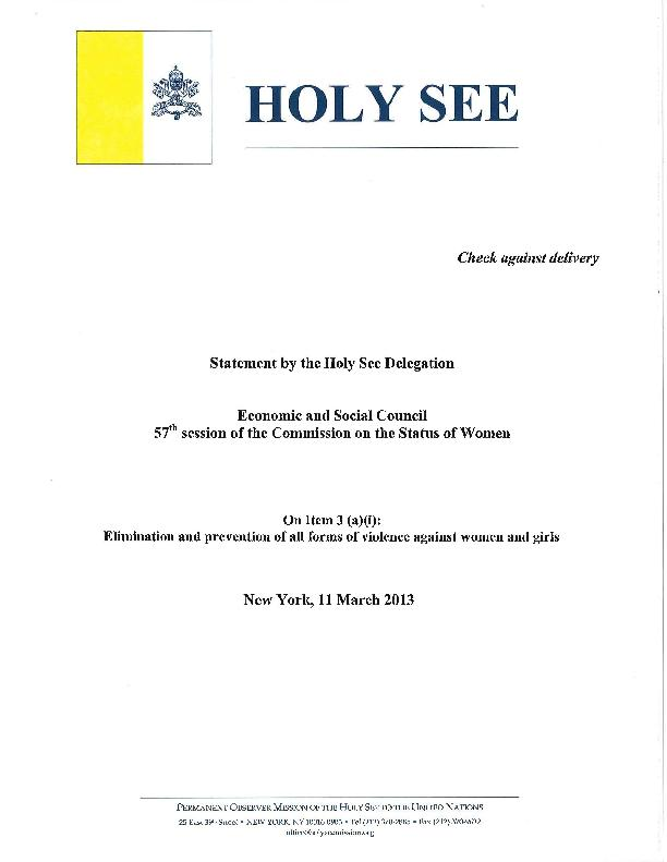 HOLY SEECheck against deliveryStatement by the Holy See DelegationEcon