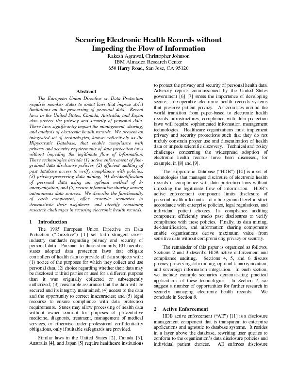 Securing Electronic Health Records without Impeding the Flow of Inform