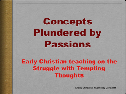 Concepts Plundered by Passions