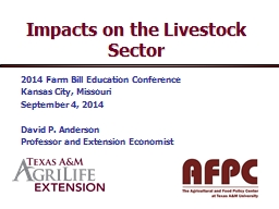 Impacts on the Livestock Sector PowerPoint PPT Presentation