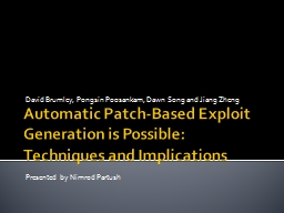 Automatic Patch-Based Exploit Generation is Possible: