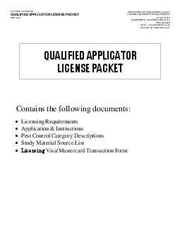 STATE OF CALIFORNIA QUALIFIED APPLICATOR LICENSE PACKET REV