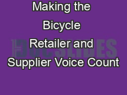 Making the Bicycle Retailer and Supplier Voice Count