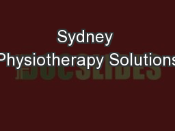 Sydney Physiotherapy Solutions