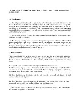 TERMS AND CONDITIONS FOR THE APPOINTMENT FOR INDEPENDENT DIRECTORS
