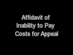 Affidavit of Inability to Pay Costs for Appeal