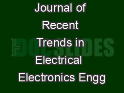 International Journal of Recent Trends in Electrical  Electronics Engg PowerPoint PPT Presentation