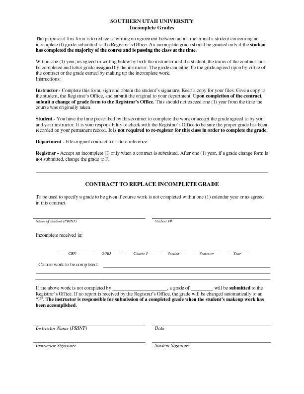 SOUTHERN UTAH UNIVERSITY Incomplete GradesThe purpose of this form is
