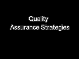 Quality Assurance Strategies