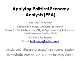 Applying Political Economy Analysis (PEA)