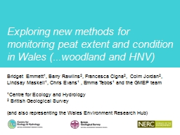 Exploring new methods for monitoring peat extent and condit