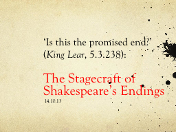 'Is this the promised end?'