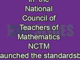 In  the National Council of Teachers of Mathematics NCTM launched the standardsb PDF document - DocSlides