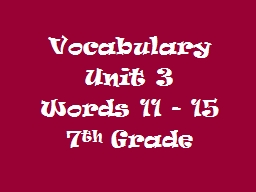 Vocabulary PowerPoint PPT Presentation