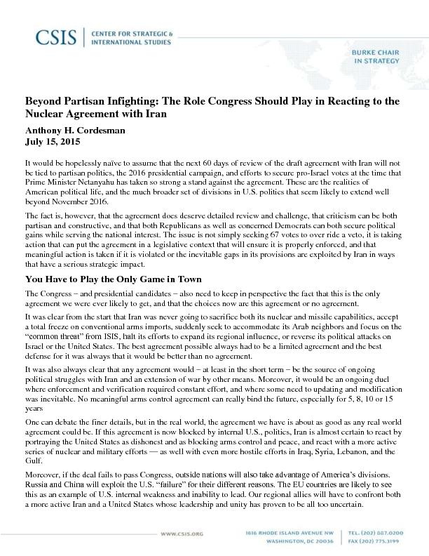 Beyond Partisan Infighting: The Role Congress Should Play in Reacting PowerPoint PPT Presentation