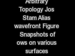 Flows on Surfaces of Arbitrary Topology Jos Stam Alias wavefront Figure  Snapshots of ows on various surfaces computed using our novel technique